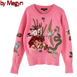 Mulheres de malha Moda Pullover Sweater Luxury Blue Beading Birding Senhoras Sweater Christmas Runway Pink Blue Sweater Jumper 201130