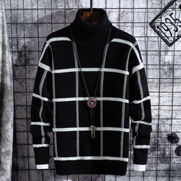 Wholesale christmas sweaters resale online - Christmas Sweater Men Clothes Winter Thick Warm Mens Plaid Sweaters Fashion Classic Turtleneck Men Pullover Warm Pull Homme
