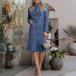ingrosso camicie in denim delle donne-Dress Autunno inverno New Women s Casual Manica lunga Casual Denim Stand Neck Second Camicia Dress Bule Femmina Elegante Abiti Casual