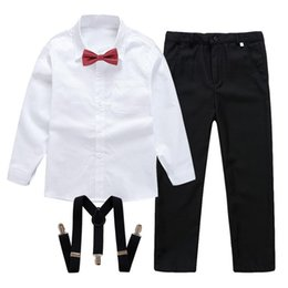 Wholesale black shirt red bow tie resale online - Newest Spring Autumn Boy Gentleman Suits Black White Shirt with Red Bow Tie Suspender Trousers Formal Kids Clothes Set