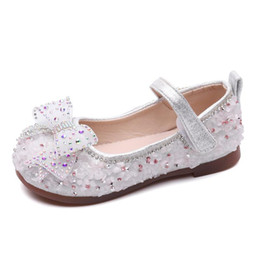 Wholesale shoes children shining for sale - Group buy 2021 Children Leather Shoes Rhinestone Baby Girl Dance Shoes Princess Shining Sandals Baby Bowknot Soft Party Flat