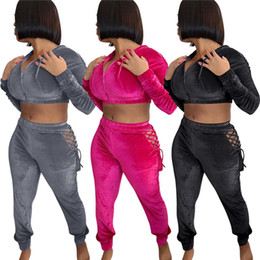 Wholesale velour tracksuits for sale - Group buy 2 velour sweatsuits women tracksuit velvet outfits jogging suit crop top leggings fall winter clothes casual sportswear long sleeve