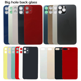 For iPhone 12 11 8 8 plus X XS MAX battery glass back glass replacement back cover housing big hole camera With stickers on Sale