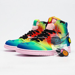 Wholesale glitter fabric color resale online - J Balvin Skate Boots for Men Jumpman Skates Boot Mens JBalvin Sports Shoes Men s Smile Ankle Sneakers Man Mid Sneaker Chaussures DC3481