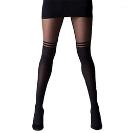 Wholesale black cat pantyhose resale online - 4Styles Black Women Temptation Sheer Mock Suspender Tights Cat Pantyhose Stockings Cool Mock Over The Knee Sheer Tights1