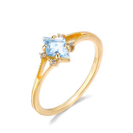 sterling silver yellow topaz ring 2021 - Diamond Shape Blue Topaz Ring 100% Pure 925 Sterling Silver 14K Yellow Gold Plated CZ Stone Engagement Wedding Jewelry For Women