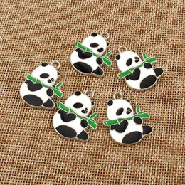 Wholesale panda charms resale online - 5pcs Cute Enamel Panda Earrings Pendant Charms DIY Jewelry Findings Kawaii Necklace Bracelet Dangle Drop Earring Small Accessory1