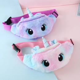 Venta al por mayor de Mochilas lindas Unicornio Unicornio Fanny Pack Girls Bag Bag Thread Toys Cinturón degradado Color Bolsas de pecho Dibujos animados monedero monedero