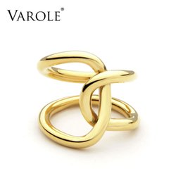 VAROLE Double Line Cross Winding Rings For Women Infinity Rings Personalized Gifts Unique Design Fashion Jewelry Anel Feminino on Sale