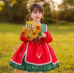 Wholesale spanish girls resale online - Baby Girls Christmas Party Dress Spanish style Kids Bows falbala Princess dress children red thicken Lolita dress A5278