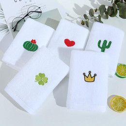 Discount adult bath towel sets Nordic Towel Set Face Hand Towel Cactus Heart Embroidered Bath Shower Towels Bathroom White Cotton Adults Kids serviette