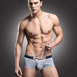 Wholesale men panties resale online - VIP128 Male Panties Breathable Bandage Boxers Men Cotton Underwear Pouch Sexy Underpants Shorts Thin Breathable NEW