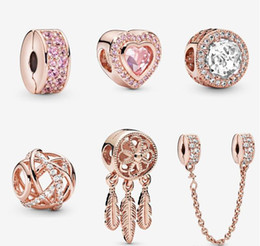 S925 Sterling silver jewelry Diy Beads Fits pandora Style Charm For Pandora Bracelets For European rose gold Bracelet&Collier on Sale