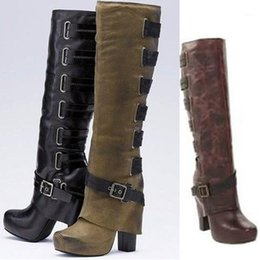 Discount brown thick heels open toe Women Fashion Jackboots Thick Heel Boots Bandage Over The Knee Fashion Boots Motorcycle Size 35-431