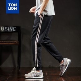 Wholesale strip pants resale online - TONLION Knitted Trousers for Men Fashion Man Black Pants Sport Track Pants Side Strip Casual Pencil Pants for Men Elastic Waist T200507