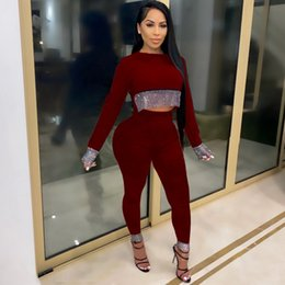 Wholesale womens sweats pants resale online - New Women Sweater Tracsuit Crop Top Pant Pieces Woman Jogging Suits Track Suit Womens Sweatsuits Sweat Suits Clothes Casual Outfit