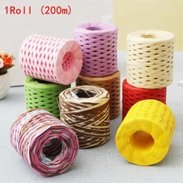 Wholesale paper cords resale online - 1PC m roll DIY Paper Ribbon Cord Rope For Palm Packaging Gift Box Packing Wedding Party Decoration Wrapping String
