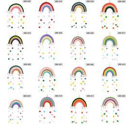 Радуга детская комната украшения ручной плетение облако шариковых кулон детская комната стены висит дома детей милый многоцветный 14JY G2 на Распродаже