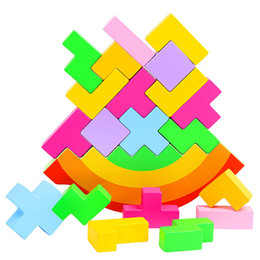 Discount tetris block New Balance Toys Baby Wooden Blocks Tetris Table Game Kids Brain Development Teaching Learning Educational toys gifts for children
