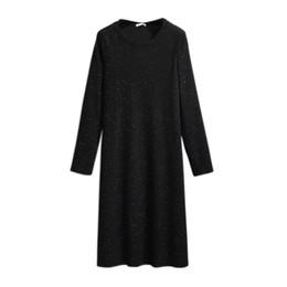 Venta al por mayor de 2021 Primavera Otoño Plus Tamaño Suéter Vestido para Mujeres sueltas Casual Manga larga Straight O Cuello Vestidos de punto Negro 4xl 5xl 6xl 7xl