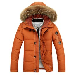Wholesale down feather jackets for men resale online - 90 White Duck Winter Warm Coat Men s Hat Detachable Fur Collar Parkas Down Jacket Hooded Feather Clothing for Men Male