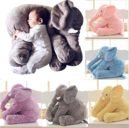 Wholesale 60cm 40cm Plush Elephant Toy Baby Sleeping Back Cushion Soft stuffed animals Pillow Elephant Doll Newborn Playmate Doll Kids toys squishy