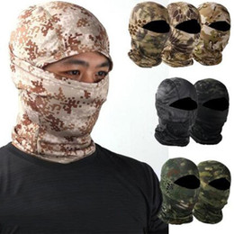 Discount army ski mask Outdoor Camouflage Balaclava Army Tactical Ski Full Face Mask Motorcycle Bicycle Caps Full Face Mask Headscarf Warmer