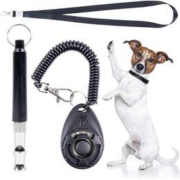 Vente en gros Sifflet de l'entraînement de chien avec kit de clicker Ultrasons à hauteur réglable avec lanière pour rappel pour animaux de compagnie Contrôle silencieux JK2012KD