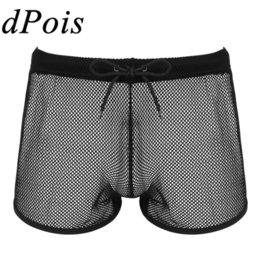 Men Mesh Gridding Boxer Briefs Shorts See Through Trunks Pouch Panties Underwear
