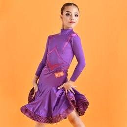 Wholesale tap dancing resale online - Latin Dance Dress For Girls Stage Costume Purple Latina Standard Competition Dresses Salsa Dance Clothes Tap Dance Wear JL1705