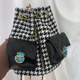 Wholesale chains factory cell phones for sale - Group buy Houndstooth Backbag Winter New Large Capacity Chain Women Shoulder Bucket Bag Multifunction Drawstring Bags Factory C005 C1223