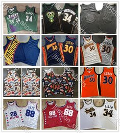 Discount curry basketball shirt Mens Vintage Giannis Antetokounmpo Stephen Curry 30 Ray Allen 34 AAPE All-Star Dense Embroidery Mitchell & Ness Basketball Jerseys Shirts