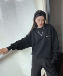 Wholesale sweater s resale online - Women Hoodie Budge Letters Prined Long Sleeves Shirts Spring Winter Terry Sweater Round Neck Unisex Hoodies