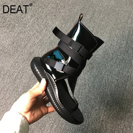 Discount cool belt buckles [DEAT] Round Toe Split Toes Black Pu Leather Belt Buckle Single Shoes Women Cool Boots New Spring Summer Fashion 10H697 201124