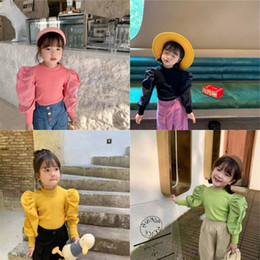 Wholesale Newest INS Little girls ribbed t-shirt autumn blank puff sleeve cotton fashion bountique clothes winter fall girls top 1-7 years 543 K2