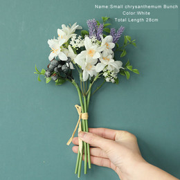 Discount gerbera bouquet Simulation Ono Chrysanthemum Bouquet for Wedding Bride Holding Flower Home Garden Decoration Fake Silk Flowers Garland