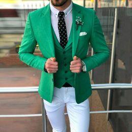 Hommes Costume Vert replanterons trois parties Veste De Sport Pantalon Gilet Mariage Business Party