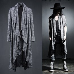 Wholesale pop extra for sale - Group buy Spring Summer Korean Stylish Grey Black Extra long pop punk cardigan linen shirts for men C1212