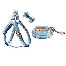 Discount plaid dog harness Unique Style Paws Blue Plaid Christmas Dog Harness with Bowtie Dog Leash Adjustable Buckle Pet Supplies