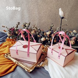 Wholesale StoBag 5pcs Cake Boxes Wedding Birthday Chocolate Gift Box Baking Bread Biscuit Candy Baby Shower Decoration Dessert Packaging 201029
