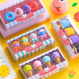 Wholesale 4pcs Yummy Dessert Erasers Set Mini Lollipop Icecream Popsicle Donuts Rubber Pencil Eraser for Kids School Student Award