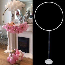 baby shower balloon decor 2021 - 2set Round Circle Balloon Holder Bow Arch Balloons Frame Column Stand Baby Shower Balloons Decor Kids Birthday Party Sup