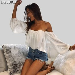 Wholesale boho off shoulder top for sale – plus size Sexy Off Shoulder Top Summer White Pink Chiffon Blouse Shirt Korean Style Party Club Crop Tops and Blouses Boho Beach Top A1112