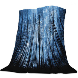 Discount moon stars bedding Fleece Throw Bed Blanket Lightweight Super Soft Cozy Forest Sky Stars Black Moon White Blanket Gift for Adults Kids1