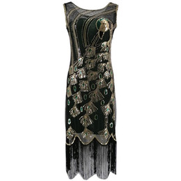 flapper dresses gatsby Australia - 1920s Vintage Peacock Sequin Fringed Party Flapper Dress O-Neck Roaring 20s Great Gatsby Dress Gabster Fancy Costumes