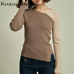 suéter de cuello de inclinación al por mayor-Kuzuwata Skew Cuello Paneamiento Patchwork Mujer Suéteres Otoño Slim Fit All Match Pullovers Chic Irregular Single Breasted Tops