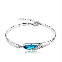 wholesale shoes boxes quality UK - Bangle JRL Austria New Style Diamond Luxurious Blue Silver Glass shoes Bracelet High Quality KKA6206