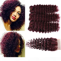 burgundy curly human hair weave NZ - Burgundy Brazilian Hair Curly 3 Bundles 99j Brazilian Virgin Hair Afro Deep Weave Beauty Products Deep Weave Human Hair 7a