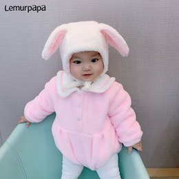 funny baby outfits UK - Bunny Onesie Baby Clothes Romper Infant Cute 0-3 Y Newborn Girl Rompers Funny Baby Costume Soft Warm Outfit ropa bebe J1203
