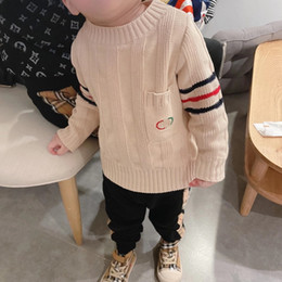 Wholesale clothing girl casual free shipping resale online - Kids Boys Girls Sweaters Winter Fashion Baby Warm knitting Sweater Children Clothes tops